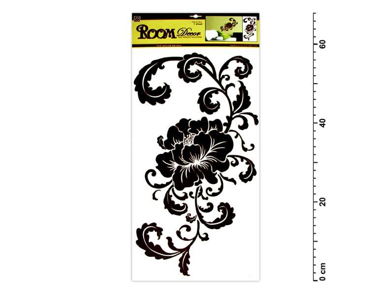 Samolepiaca dekorácia 589 hnedá 69x32 cm - kvet s ornamentami