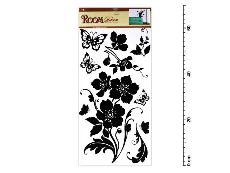 Samolepiaca dekorácia 1042 čierny kvet s motýľmi 69x30cm