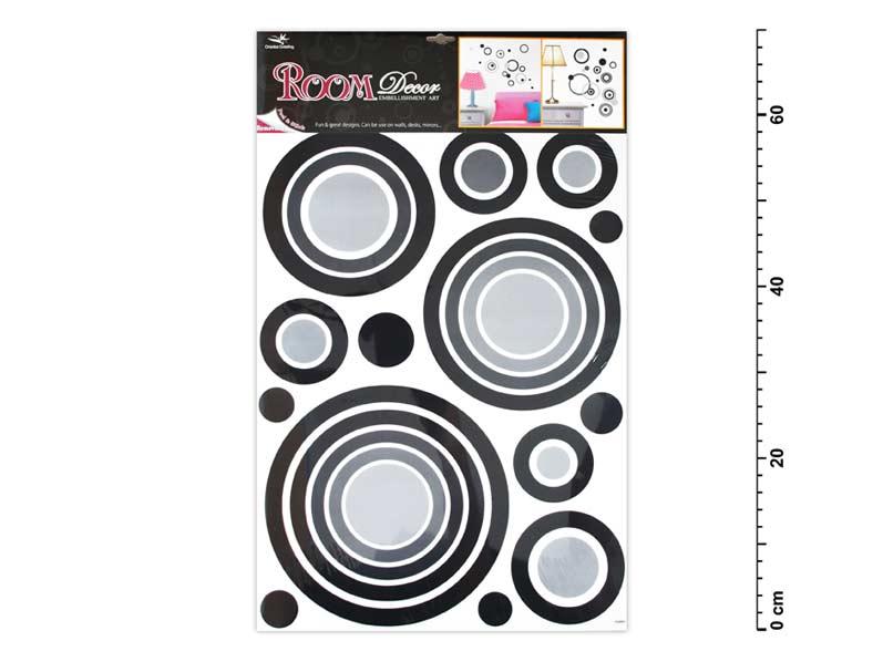 Samolepiaca dekorácia 1056 čierne kruhy 70x42cm
