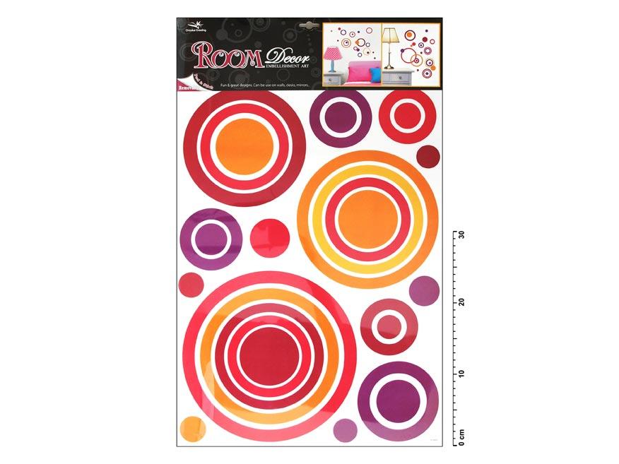 Samolepiaca dekorácia 1057 ružové kruhy 70x42cm