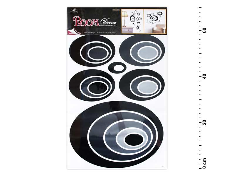 Samolepiaca dekorácia 1059 čierne elipsy 70x42cm