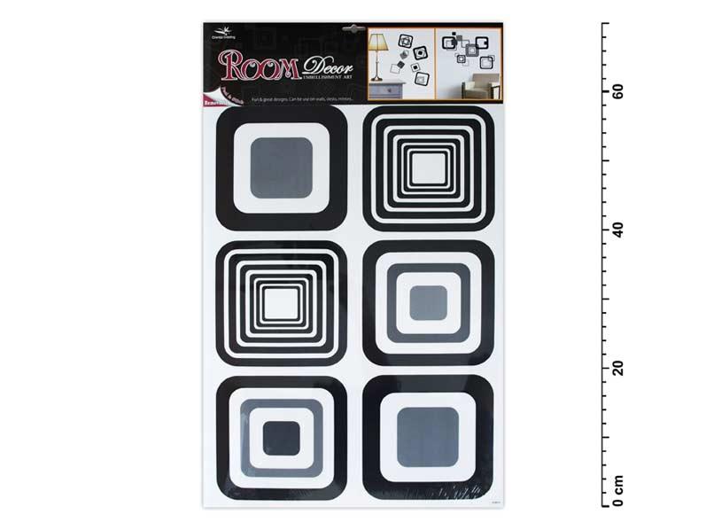 Samolepiaca dekorácia 1062 čierne štvorce 70x42cm