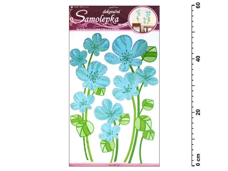 Samolepiaca dekorácia 1382 kvety veľké svetlomodré, 60x33 cm