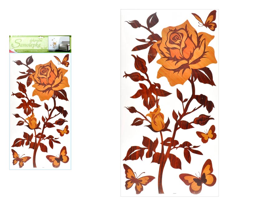 Samolepiaca dekorácia 1346 ruža s imitáciou dreva, 69x32 cm