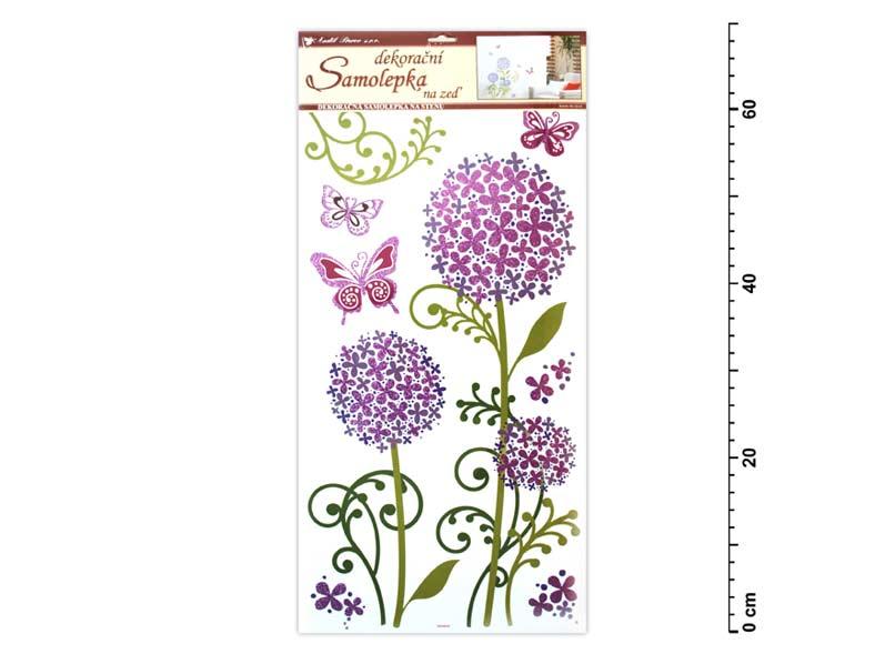 Samolepiaca dekorácia 1387 hortenzia fialová s glitrom, 69x32 cm