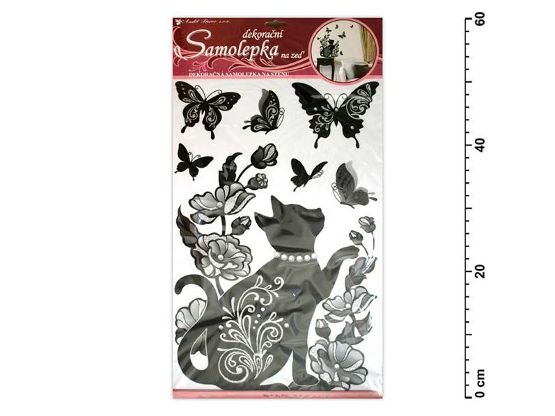 Samolepiaca dekorácia 10016 čierna mačka s glitrami a kamienkami 60x32cm