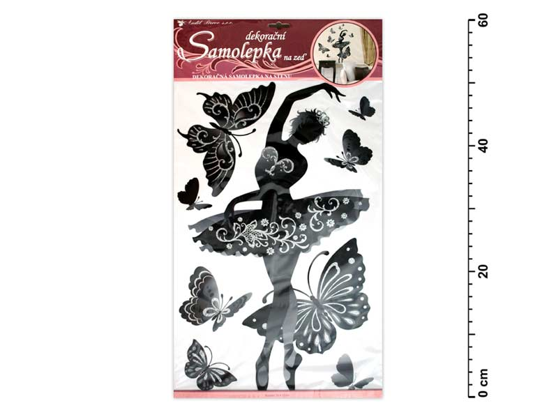 Samolepiaca dekorácia 10017 baletka čierna s glitrami a kamienkami 60x32cm
