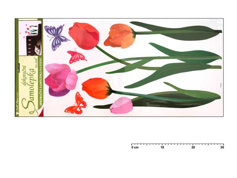 Samolepiaca dekorácia 10033 farebné tulipány 69x32cm