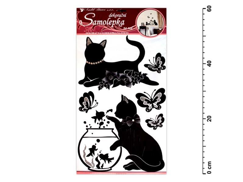 Samolepiaca dekorácia 10063 čierné mačky s akváriom 60x32cm