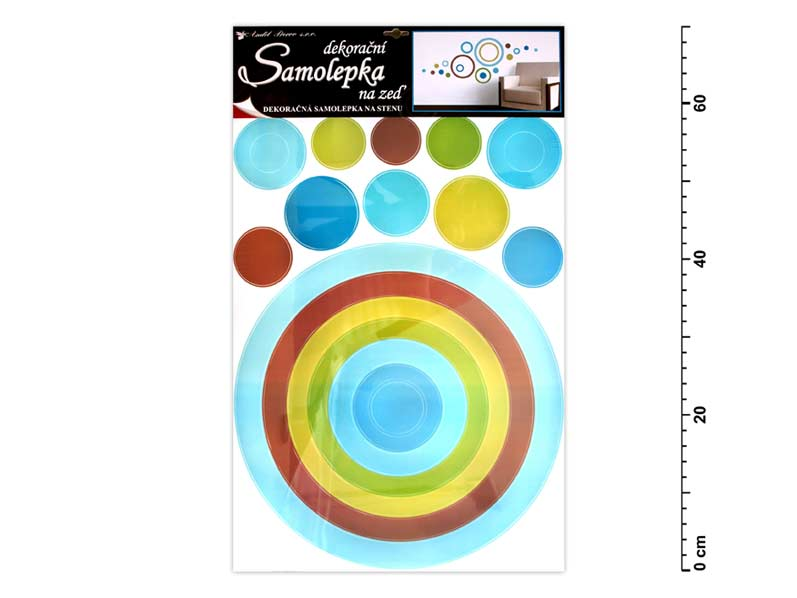 Samolepiaca dekorácia 10065 kruh  modrý 70x42cm