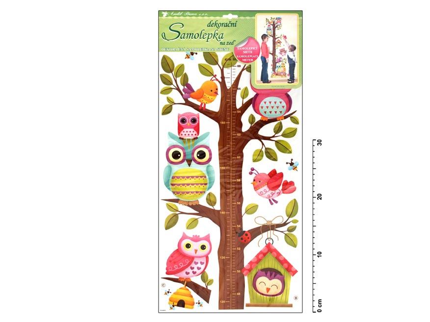 Samolepiaca dekorácia 10097 meter strom so sovami 70x33cm