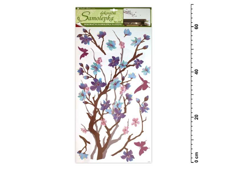 Samolepiaca dekorácia 10089 purpurovo- fialový konárik 69x32cm