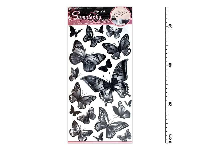 Samolepiaca dekorácia 10146 čiernošedé motýle 70x32cm