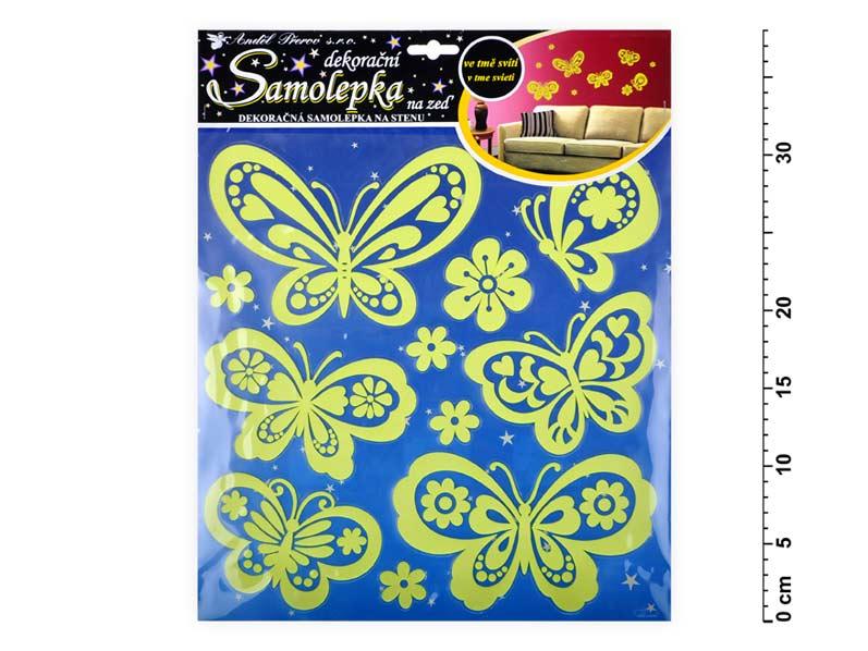 Samolepiaca dekorácia 10109 svietiace v tme motýle 38x31cm