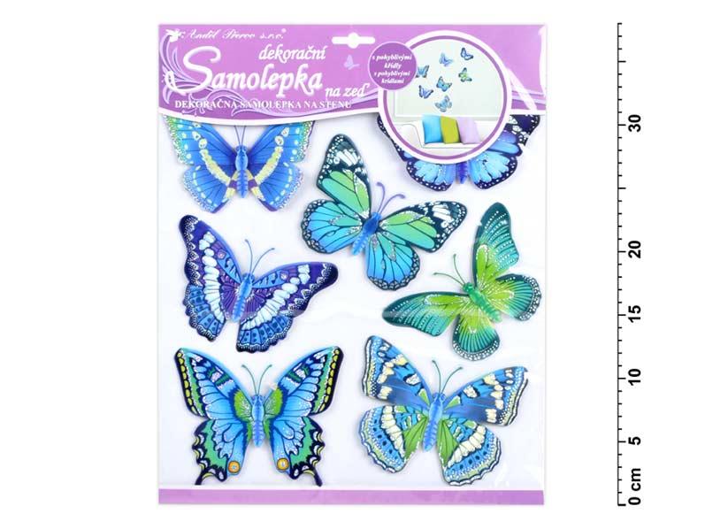 Samolepiaca dekorácia 10163 motýli modří 30,5x30,5 cm