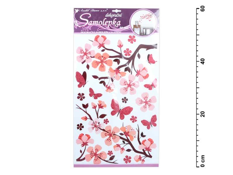 Samolepiaca dekorácia 10165 s glitrem, 50x32 cm, ružová konár