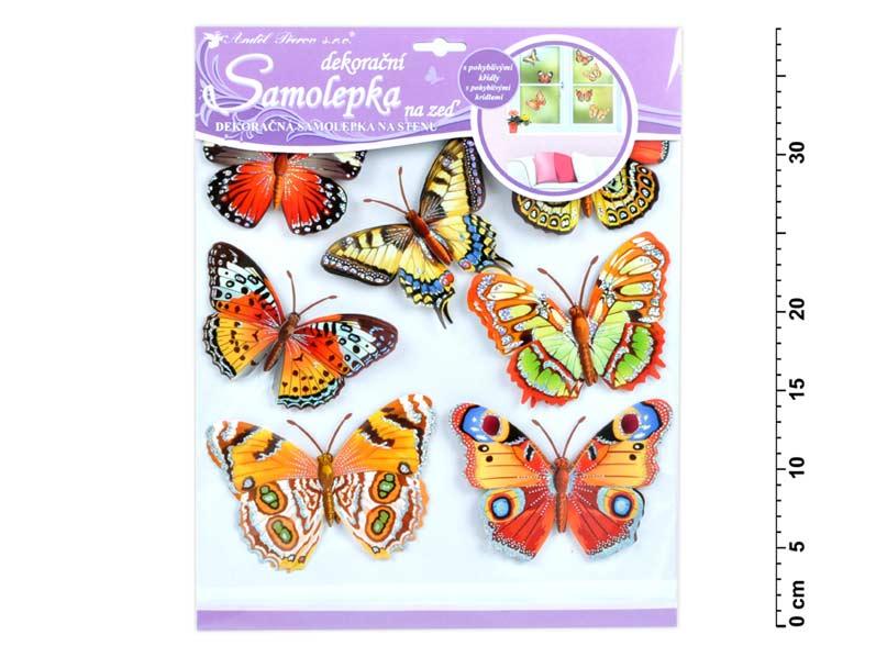 Samolepiaca dekorácia 10161 motýli ozajstní 30,5x30,5 cm