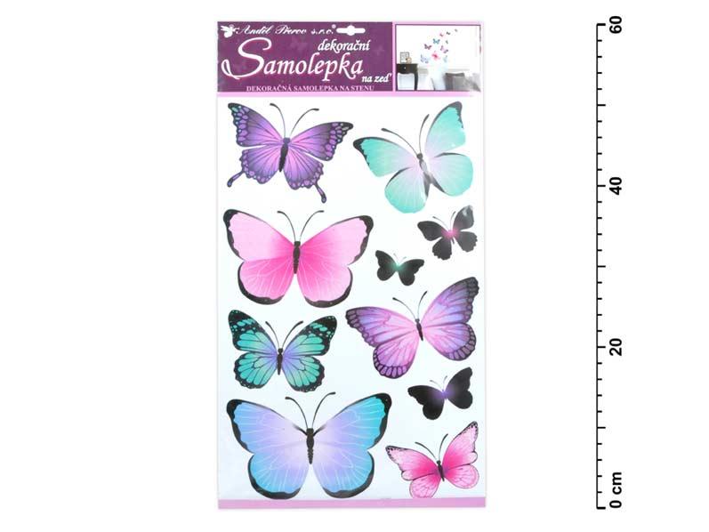 Samolepiaca dekorácia 10185 motýli modrofialoví 50 x 32 cm