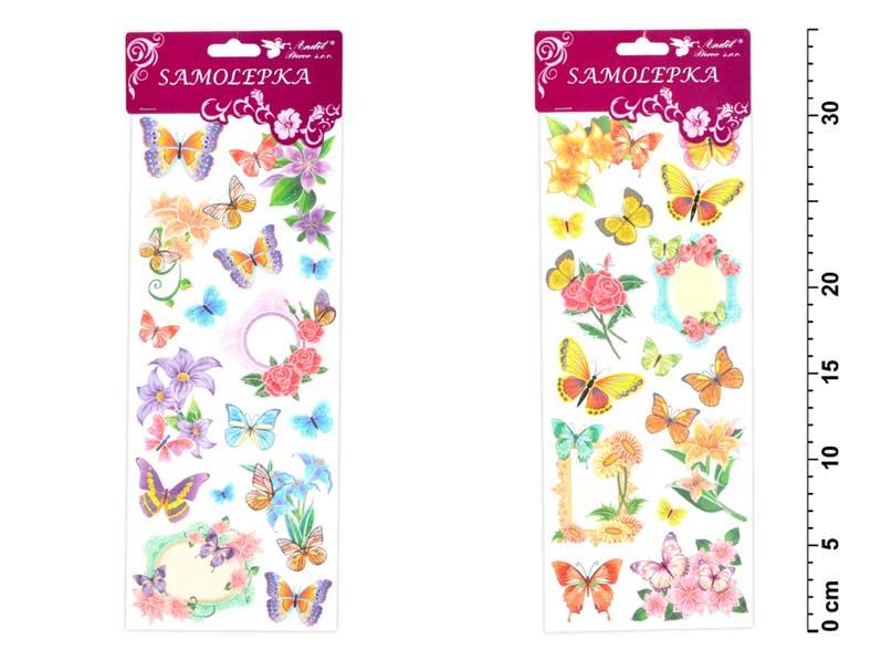 Samolepky 1253 motýle a kvetiny s glitrami 34,5x12,5 cm