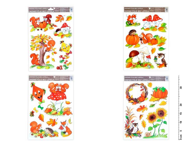 Fólia okenná 946 ručne maľovaný jeseň sovy,veverky,líšky 37x26 cm