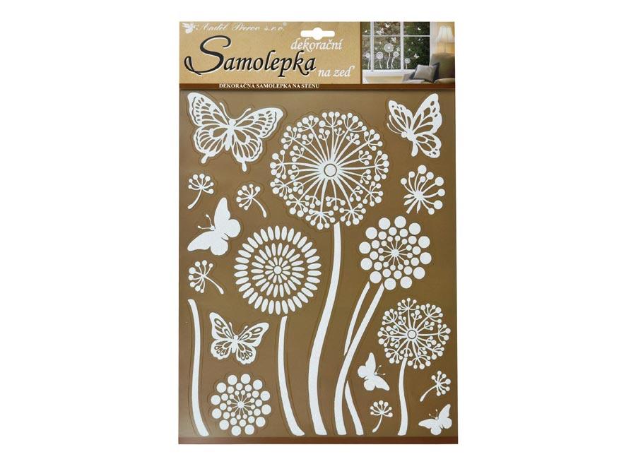 Samolepiaca dekorácia 10190 biele kvetiny s glitrami 35 x 27,5 cm