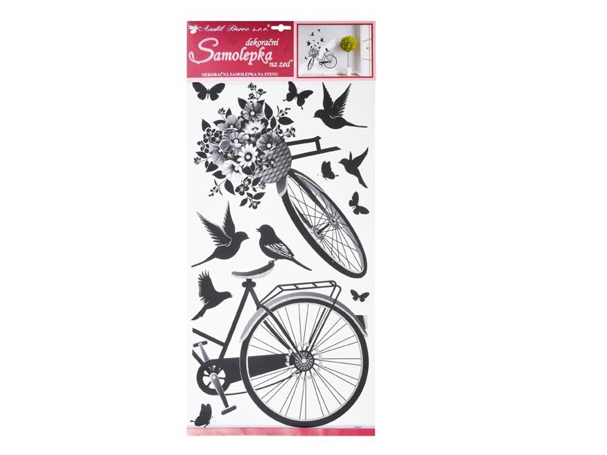 Samolepiaca dekorácia 10187 koleso s květinou 60 x 32 cm
