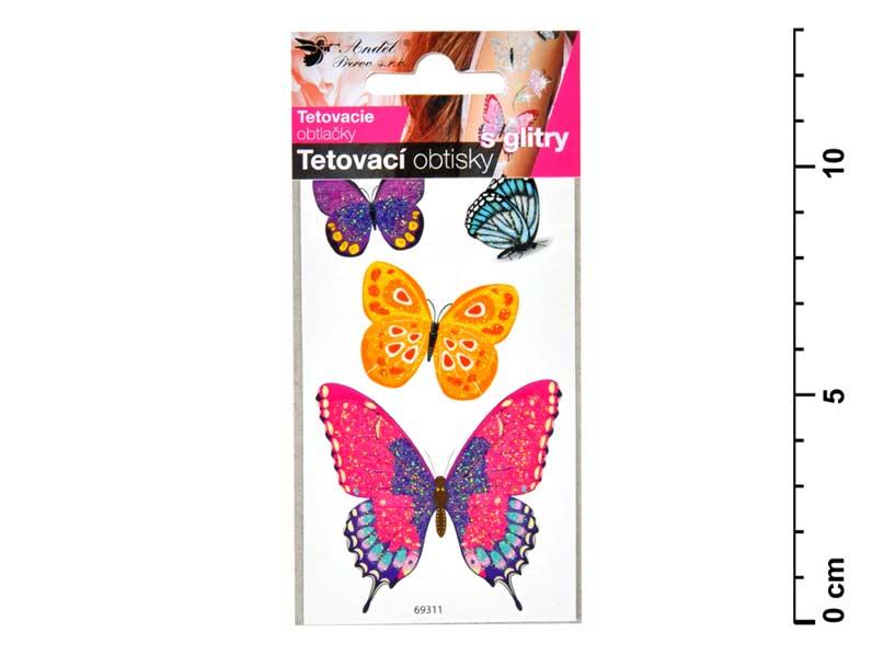 Tetovací obtisky 1102 s glitrami 10,5x6 cm- motýli
