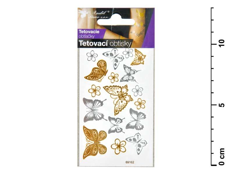Tetovačky 1114 zlaté a strieborné 10,5x6 cm- motýle
