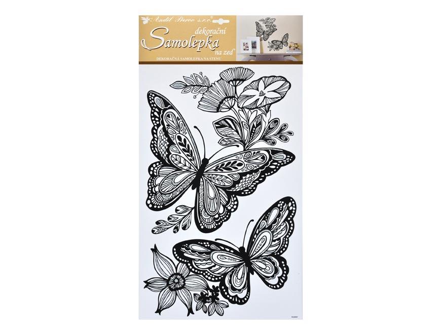 Samolepiaca dekorácia 10233 mandala motýli s glitrami 60x32cm