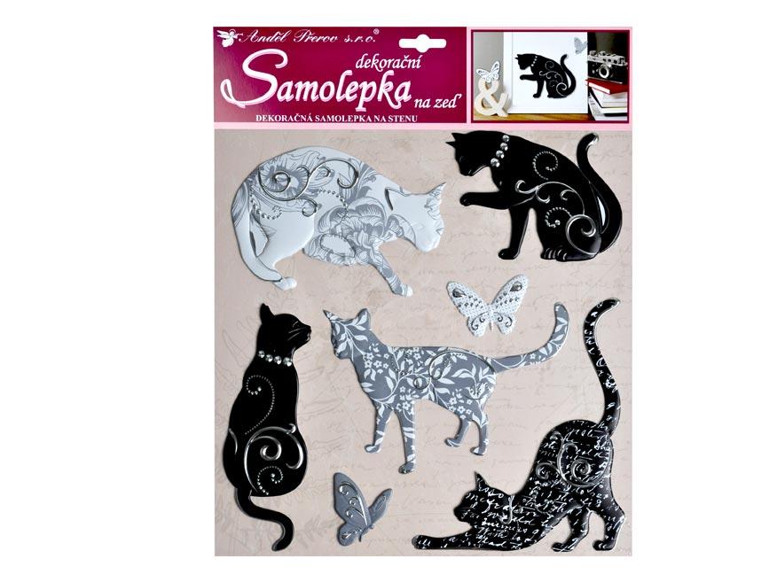 Samolepiaca dekorácia 10228 kočky sa stříbrným dekorom 38x31 cm