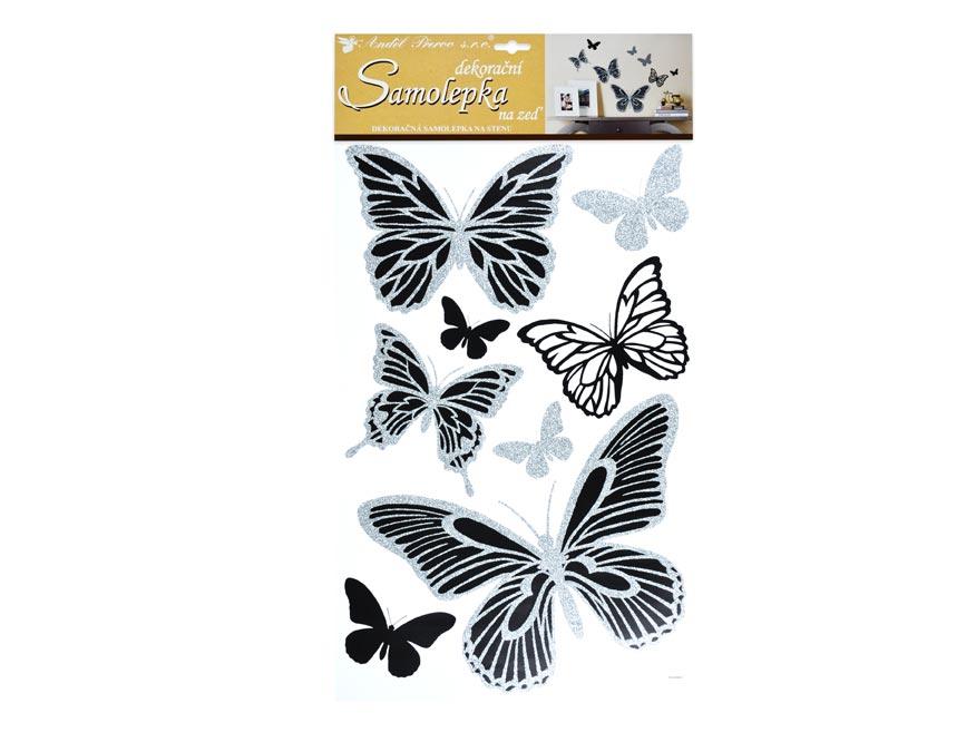 Samolepiaca dekorácia 10232 motýli sa stříbrnými glitry 60x32 cm