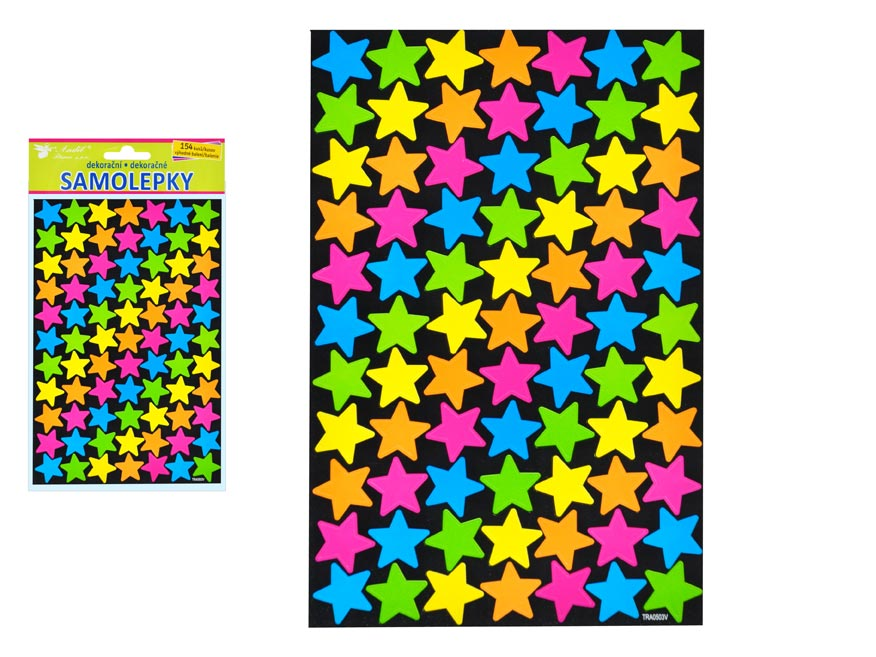 Samolepky 10110 neonové hviezdičky 21x14cm
