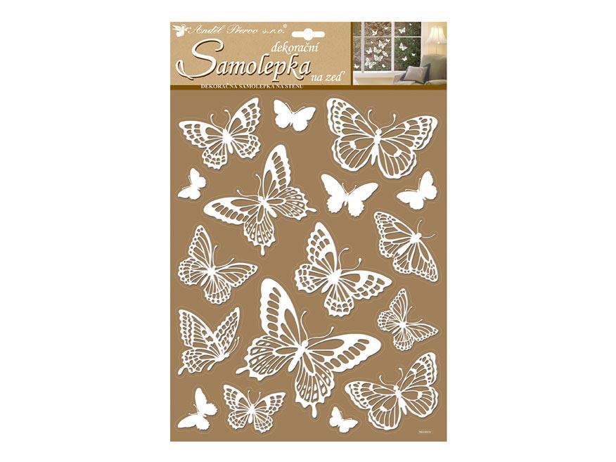 Samolepicí dekorácia 10227 bílí motýli s glitrami 41x28 cm