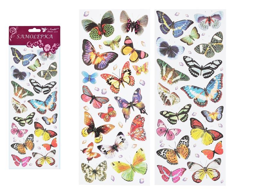 Samolepky 1256 motýli 30x12 cm s glitrami