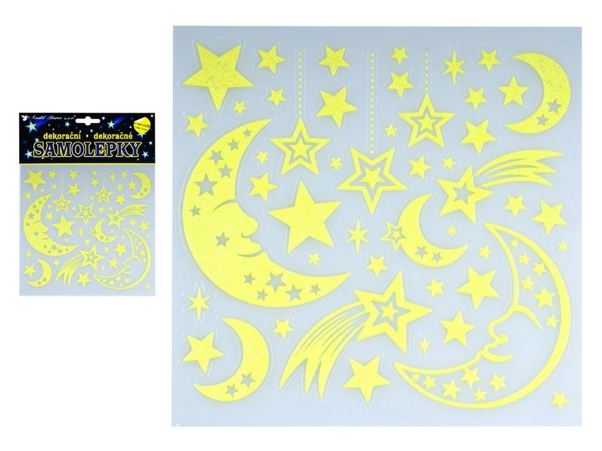 Samolepky 10263 svietiací vo tmě mesiac a kométy 18 x 18 cm