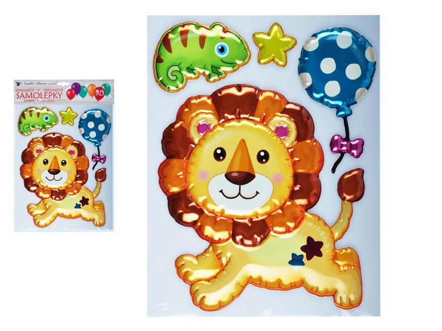Samolepiaca dekorácia 10270 3D balóniková lev 35 x 27 cm