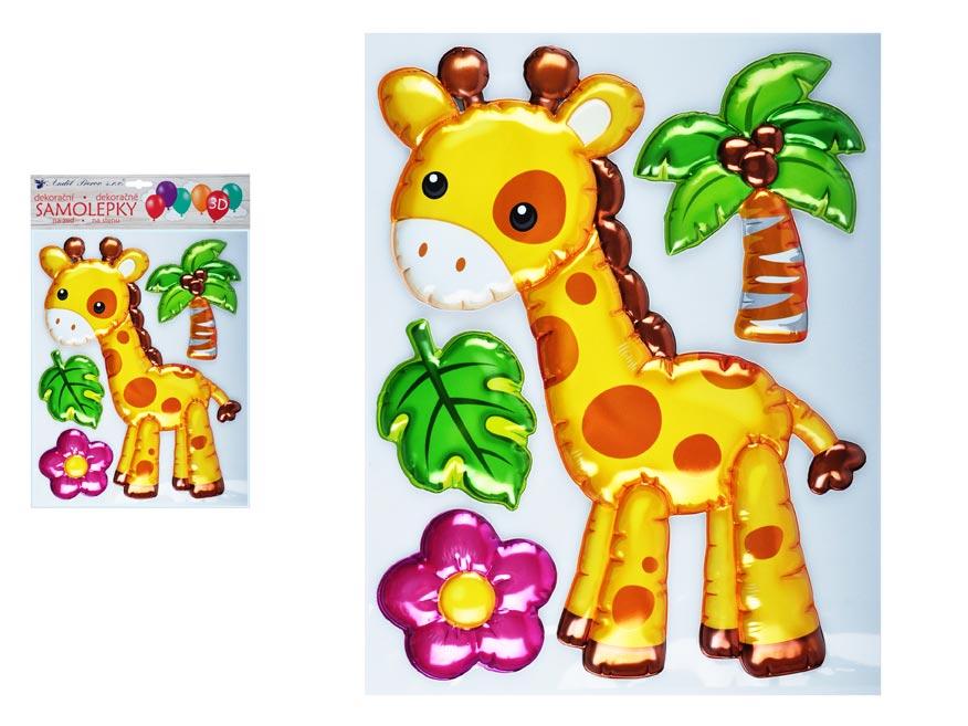 Samolepiaca dekorácia 10271 3D balóniková žirafa 35 x 27 cm