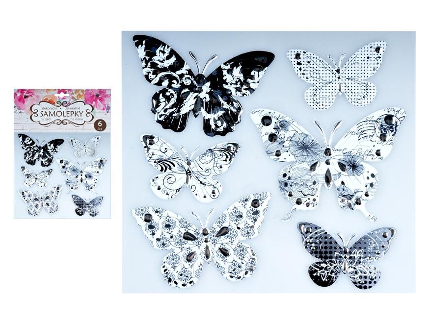 Samolepiaca dekorácia 10275 motýli sa stříbrou ražbou 21 x 19 cm