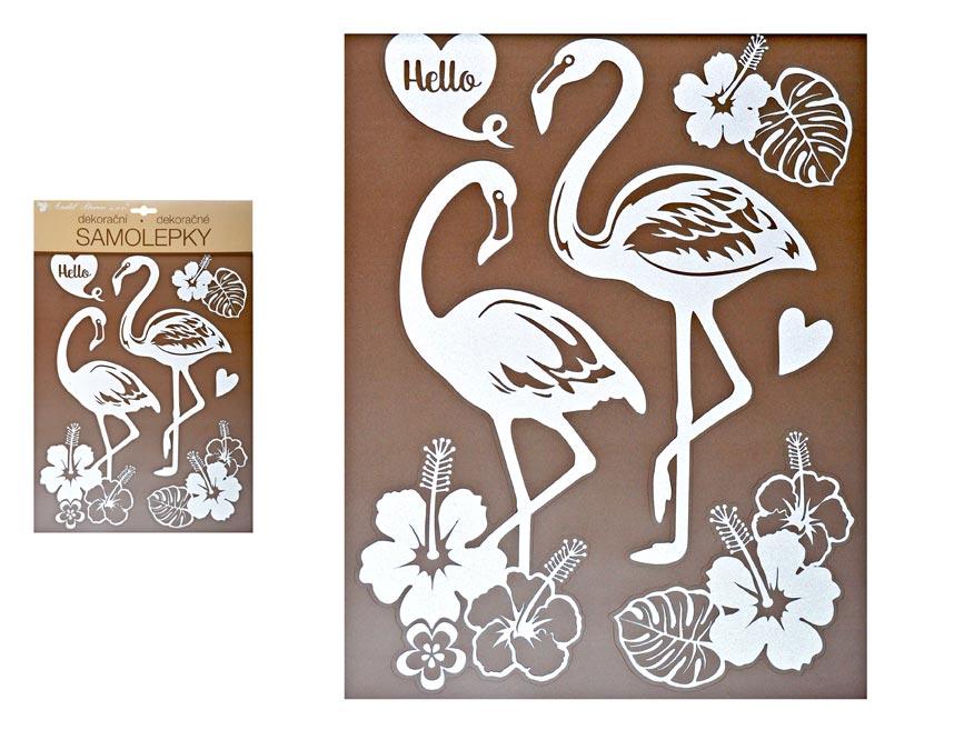 Samolepiaca dekorácia 10281 bílí plameňáci s glitrami 35 x 27 cm