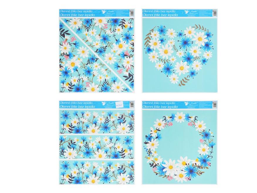 Okenná fólia 987 s glitrami kvety 33x30 cm
