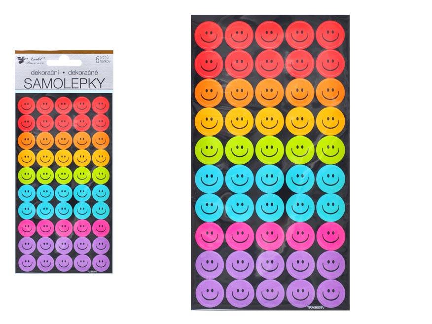 Samolepky 10421 smajlíci 6 archov/300 ks 9,5 x 21 cm