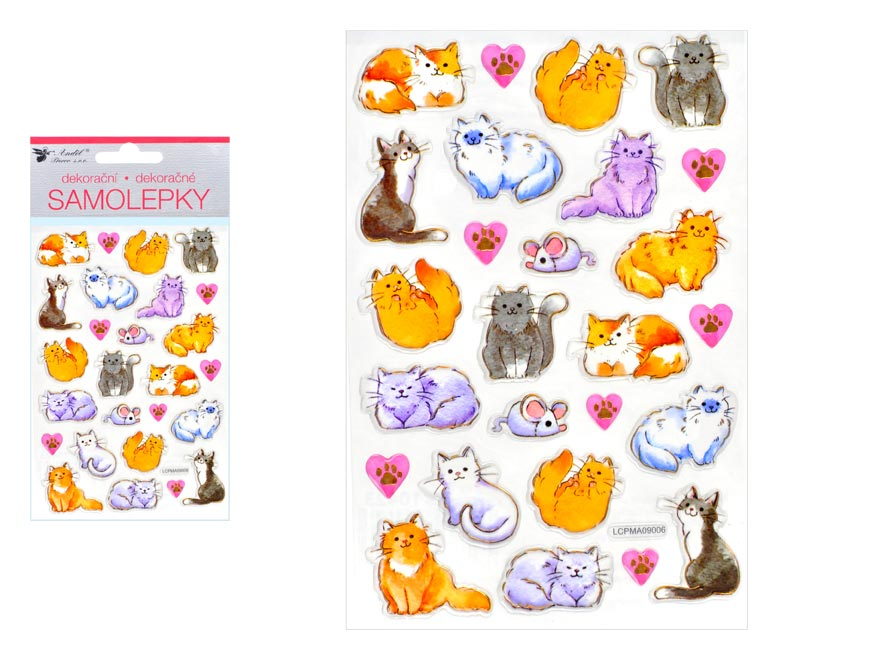 Samolepky 10423 mačky so zlatou ražbou 10 x19 cm