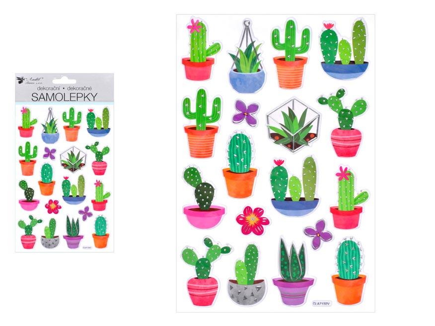 Samolepky 10434 kaktusy plastické 14 x 25 cm