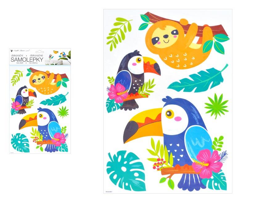 Samolepiaca dekorácia 10448 lenochod a tukani 24 x 42 cm
