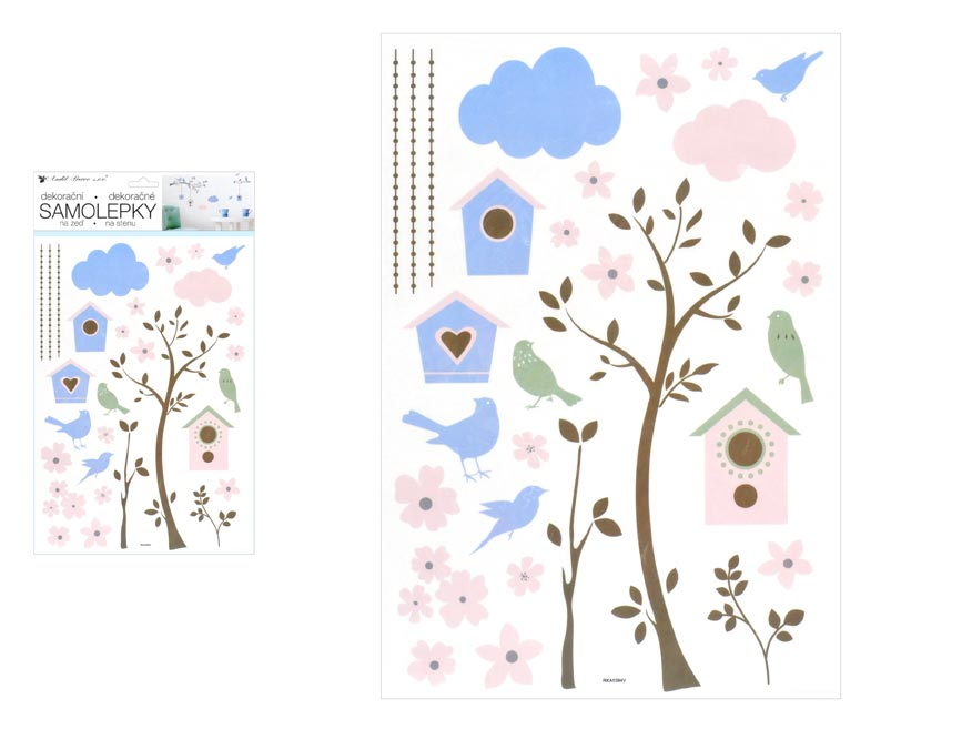 Samolepiaca dekorácia 10455 strom a búdky 24 x 42 cm