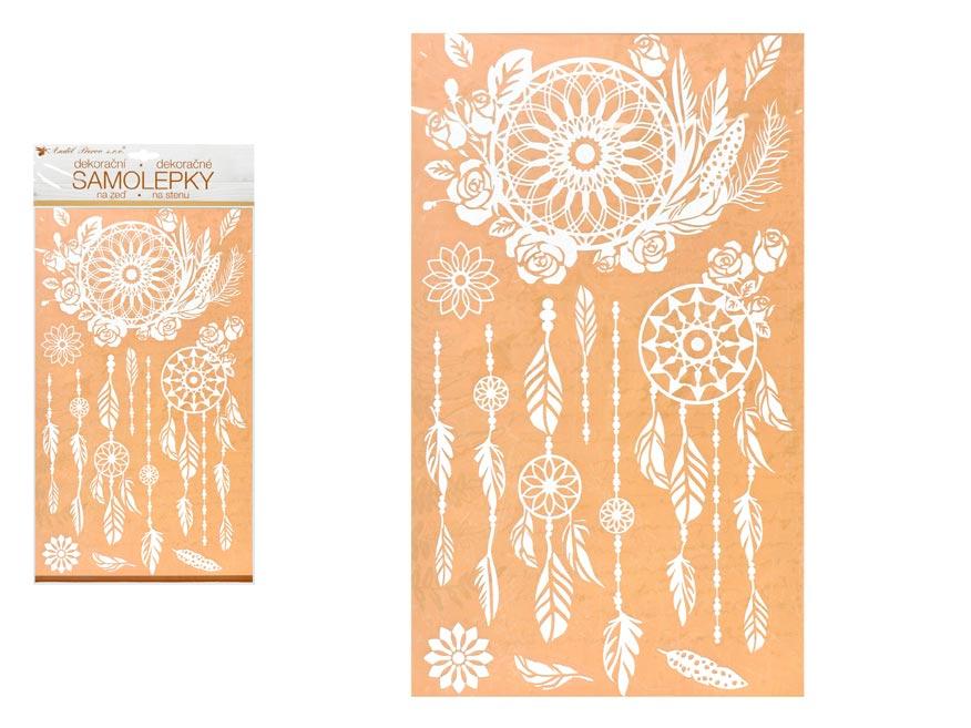Anděl samolepiaca dekorácia 10462 biely lapač snov s glitrami 24 x 47,5 cm
