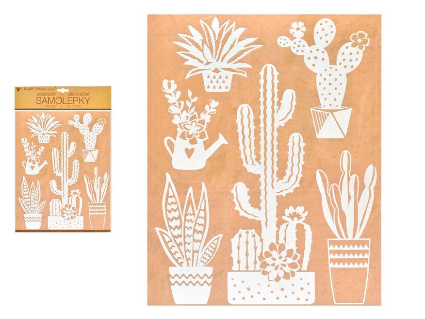 Anděl samolepiaca dekorácia 10466 biele kaktusy 27,5 x 41 cm