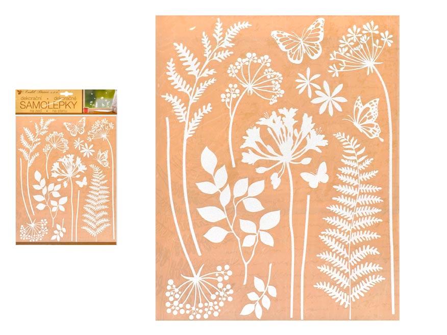 Anděl samolepiaca dekorácia 10470 biela tráva 27,5 x 41 cm