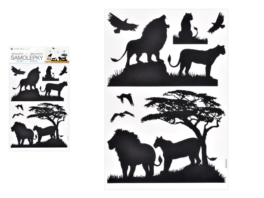 Samolepiaca dekorácia 10474 čierna lvi 24 x 42 cm