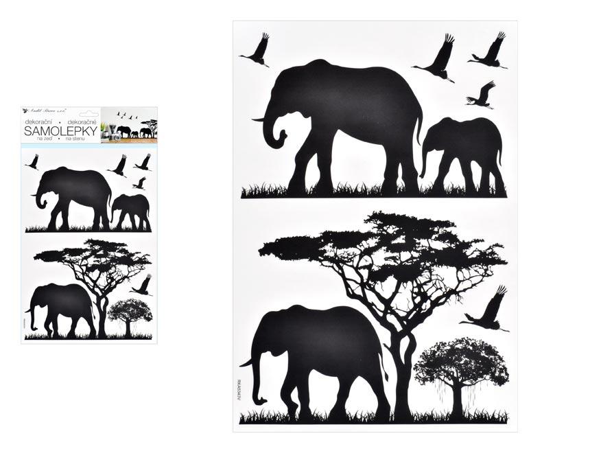 Anděl Samolepiaca dekorácia 10475 čierne slony 24 x 42 cm